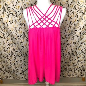 Torrid hot pink strappy tank top plus size 3X